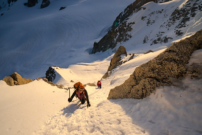 Climbers on the Migot Spur of the Aiguille du Chardonnet, Chamonix, France