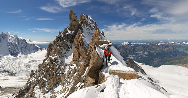 Valentine Fabre on the Forbes Arete of the Aiguille du Chardonnet, Chamonix, France