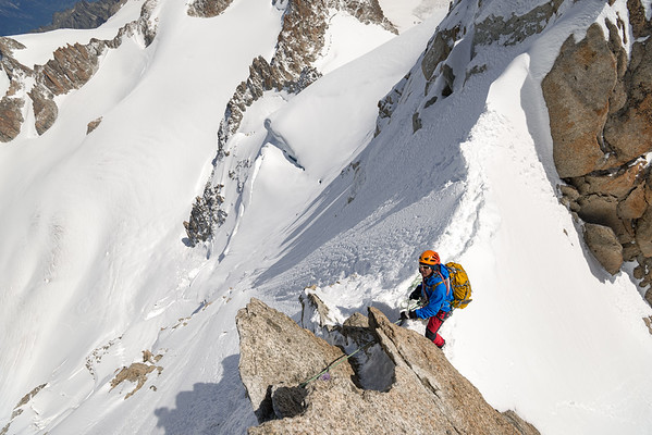 Victor Saunders on the Forbes Arête of the Aiguille du Chardonnet, Chamonix, France