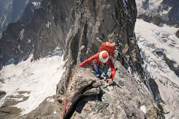 Valentine Fabre on the Grandes Jorasses traverse
