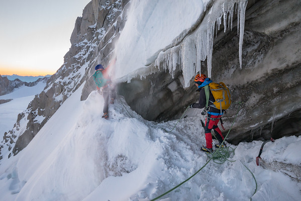 Valentine Fabre and Victor Saunders on the Migot Spur of the Aiguille du Chardonnet, Chamonix, France