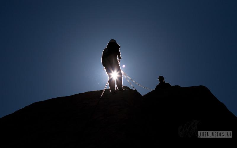 Cap Rock. Rappelling off a rock.