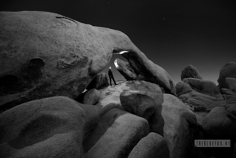 Arch Rock at night under moonlight. Self portrait. (Run! Karin, run! ...and now hold the breath for 30 seconds or so...)