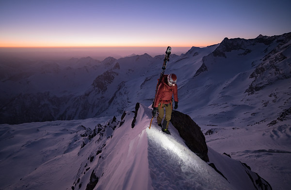 Valentine Fabre on the Hosaasgrat (SE ridge) of the Fletschhorn, Switzerland