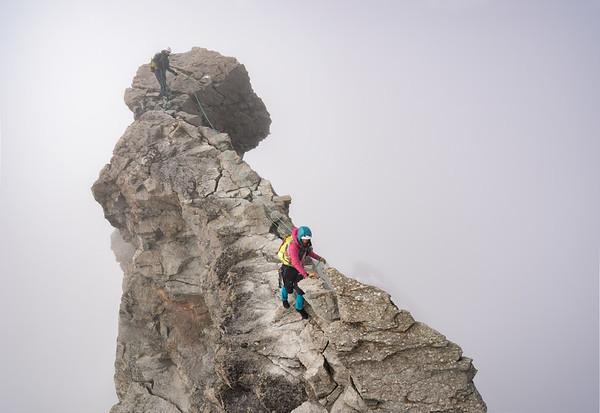 Liv Sansoz and Marion Poitevin on the Zinalrothorn, Zermatt