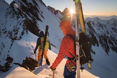 Liv Sansoz and Marco Bernasocchi on the Grunegghorn Ridge of Grunhorn, Oberland, Switzerland