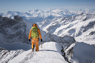 Liv Sansoz on the SW ridge of the Grunhorn, Oberland, Switzerland