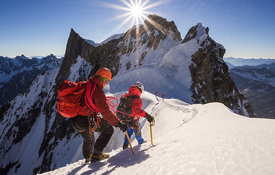 Jon Morgan and Krishna Thapa on the Rochefort Arete, Chamonix