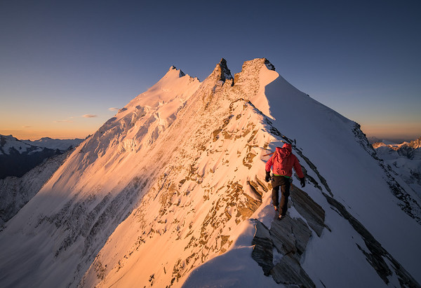 Tom Coney climbing the North Ridge of the Weisshorn, Switzerland