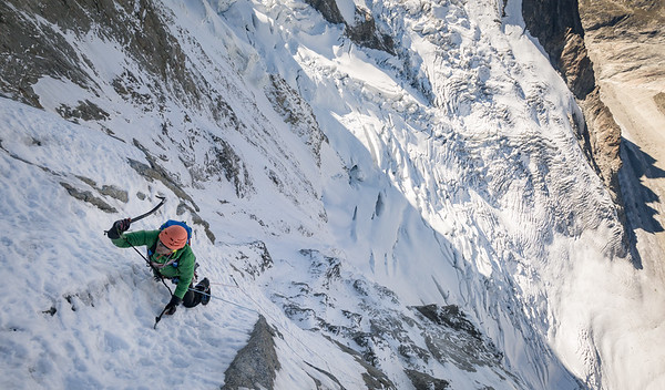 Misha Gopaul on the Polish Combination, Grandes Jorasses. France