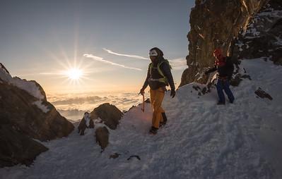Liv Sansoz and Marco Bernasocchi on the NW ridge of the Finsteraarhorn, Oberland, Switzerland