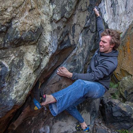 Bouldering at Dumbarton Rock, Scotland