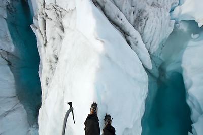 Point of view walking on Matanuska Glacier, Chugach Range, Alaska