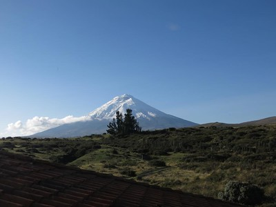 Cotopaxi from my room at Los Mortinos lodge