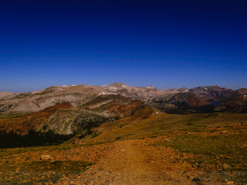 Gaylor Peak and Mount Conness from a plateau on Mount Dana