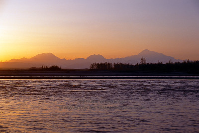 The Alaska Range viewed from the banks of the Susitna River near Talkeetna.
