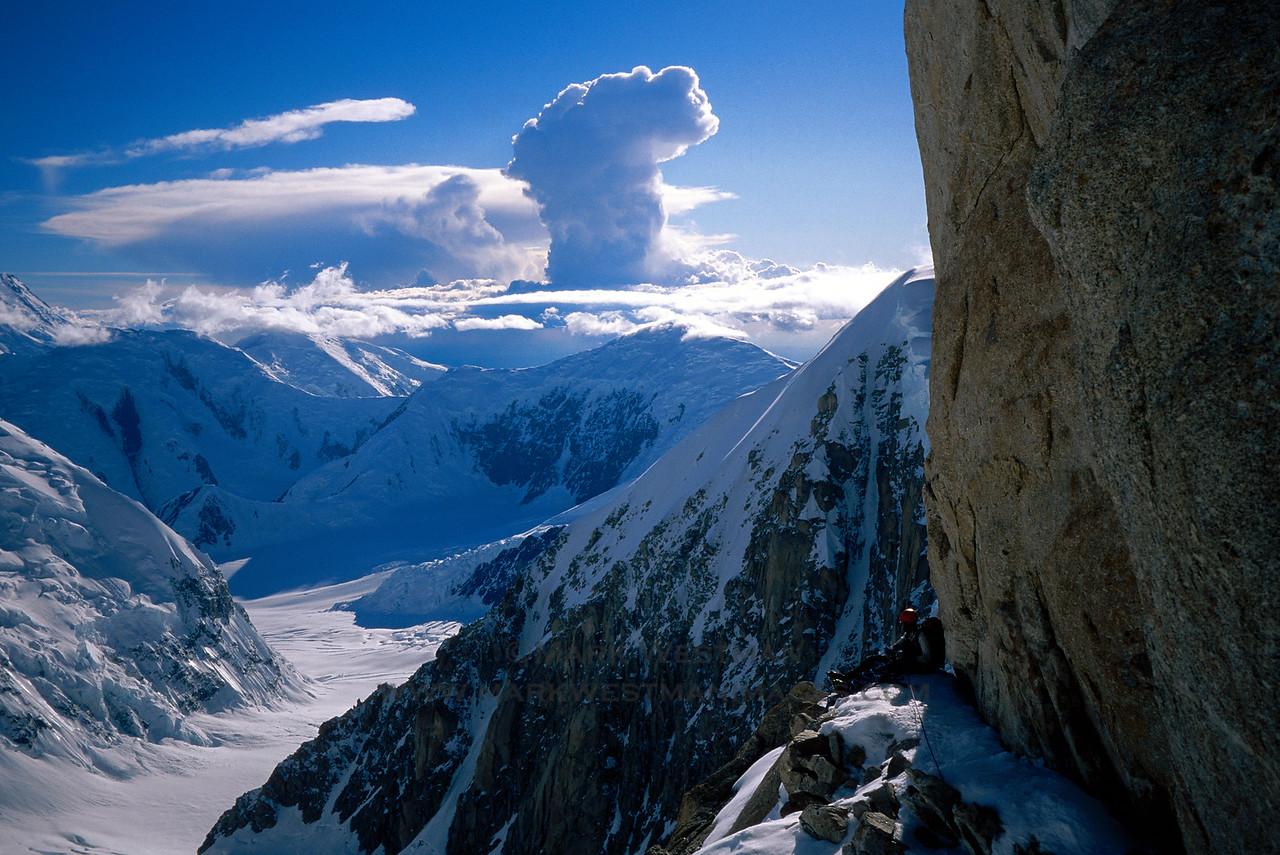 A small bivouac ledge on Denali's Cassin Ridge.