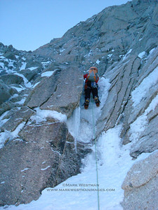 Mixed climbing on the Denali Diamond route on Denali's southwest face.