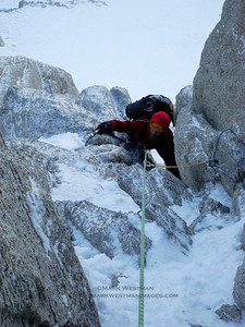 Colin Haley following on steep mixed ground on the Denali Diamond.