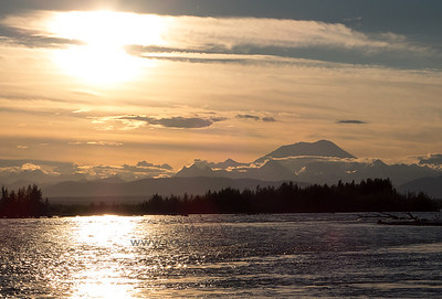 Summer evening, Mount Foraker, and the Susitna River.