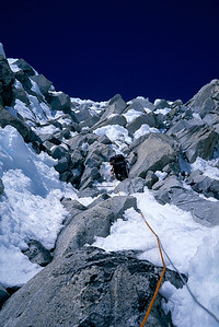 Joe Puryear on a difficult mixed pitch on the Infinite Spur of Mount Foraker.