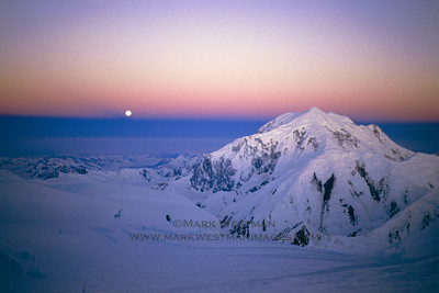 Full moon and Mount Foraker.