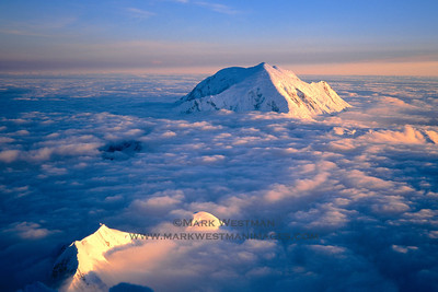 Evening light over Mount Foraker from 18,000 feet on Denali's Cassin Ridge.