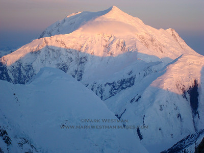 Sunrise on Mount Foraker, taken at 3 AM while making an ascent of Denali's Denali Diamond route.