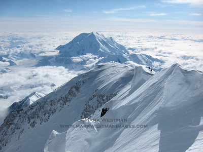 Climbers on Denali's summit ridge.