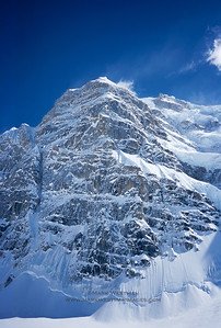 """The north buttress of Mount Hunter, one of Alaska's, and world's, most prized alpine ice and mixed climbs. There are several routes that have been completed, but the most iconic and classic is the """"Moonflower"""", which takes a line more or less straight up the middle of the buttress."""