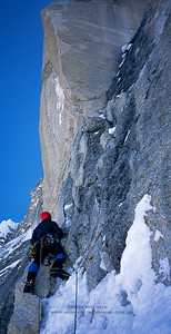 "Joe Puryear climbing ""The Prow"" on the north buttress of Mount Hunter."