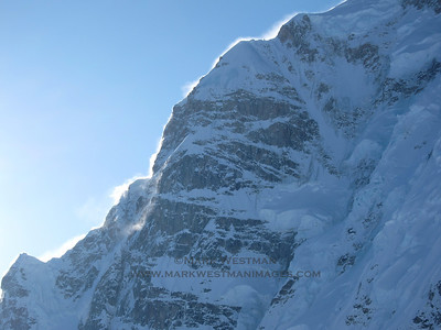 A windy morning on Mount Hunter's north buttress.