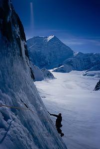 Joe Puryear on steep ice on Mount Hunter's north buttress.