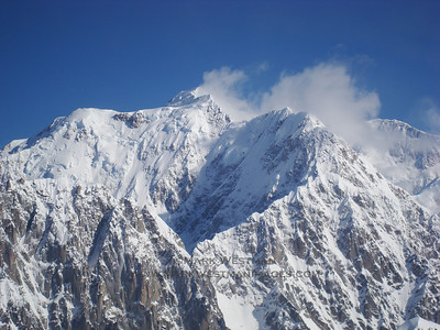 Aerial view of Mount Hunter's south ridge and south summit.