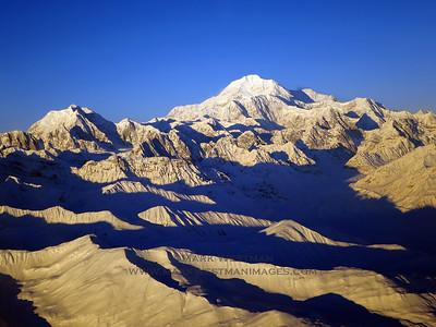 Mount Hunter (L) and Denali (center), in winter.