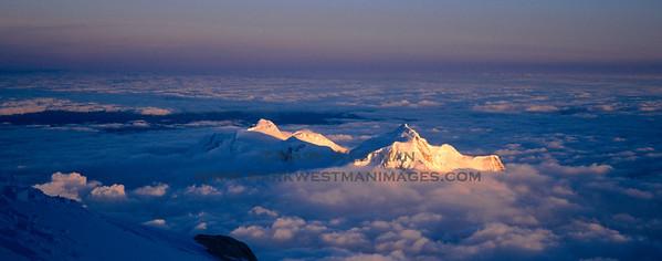 Evening light over Mount Hunter from high on Denali.