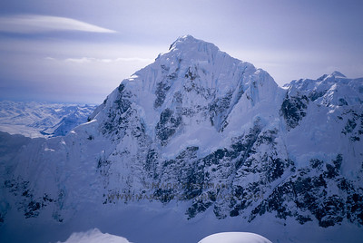 Mount Huntington's rugged, 5,500 foot tall north face.