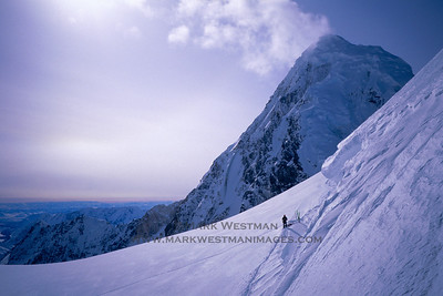 Joe Puryear at the base of Mount Russell's north ridge during an early season attempt.
