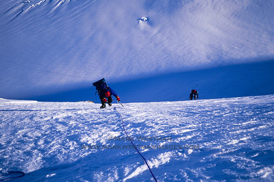 Lisa Roderick and Joe Puryear climbing on Mount Russell's north ridge.