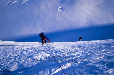 Lisa Roderick and Joe Puryear climbing on Mount Russell's north ridge.