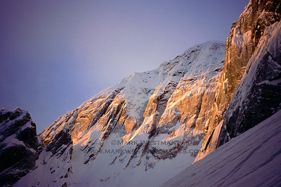 Sunrise on the north face of Mount Church.