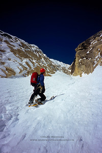 Eamonn Walsh prepares to take the Escalator on Mount Johnson's east face.