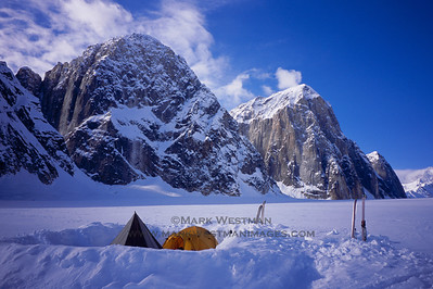 Camp in the Ruth Gorge, with Mount Bradley, Mount Dickey, and Mount Barrille.