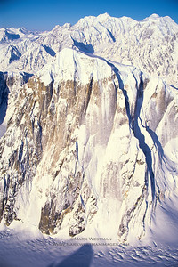Aerial view of Mount Dickey's 5000 foot tall east face.