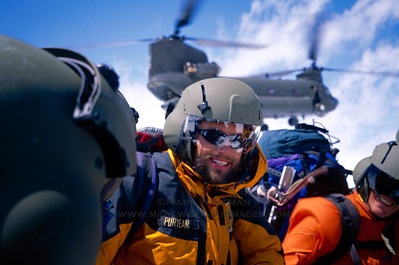 National Park Service rangers training for search and rescue with a US Army CH-47 Chinook helicopter.