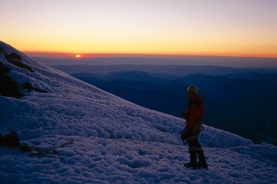 Sunrise from Mount Rainier summit crater, Washington.