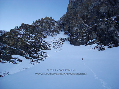 Climbing into Asteroid Alley on Mount Andromeda, Jasper National Park, Alberta, in winter.