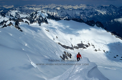 Climbing on the east ridge of Eldorado Peak, North Cascades National Park, Washington.