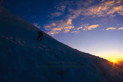 Sunrise on the Kautz Glacier, Mount Rainier.