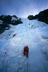Climbing Murchison Falls in Jasper National Park, Alberta.